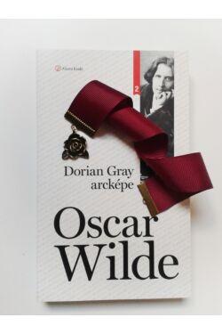 Dorian Gray arcképe könyv + Bordó szalagos könyvjelző rózsa függővel
